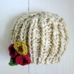 Chunky knit baby hat, newborn girl hat with flowers. $24.00, via Etsy.