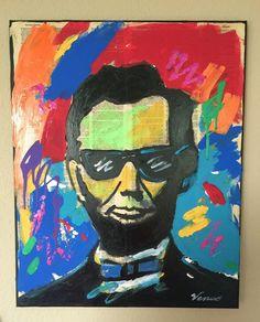 ORIGINAL PAINTING Abraham Lincoln Pop Art Portrait Raw Outsider Illustration  #PopArt