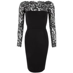 Gucci Black Viscose Jersey & Lace Dress featuring polyvore, fashion, clothing, dresses, lace dress, lacy black dress, gucci dress, black cocktail dresses and lbd dress
