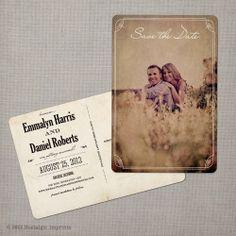 Emmalyn - Vintage Save the Date Postcard. $39.00, via Etsy.