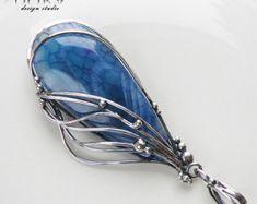 Fairy wing- silver, handmade pendant, dragon vein agate, oxidized, fairy tale,blue