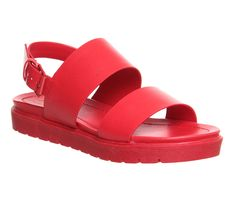 Office Optic Double Strap Sling Sandal Red Mono - Sandals