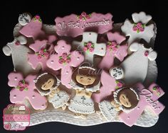 Girl My First Holy Communion, Chalice & Host, Crosses, Communion Girl, Communion Dress by www.cakesandcookiesbyclau.com