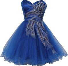 Royal Metallic Peacock Embroidered Prom Dress