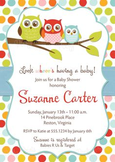 Owl Baby Shower Invitations  DIY Printable by PoofyPrints on Etsy, $24.00