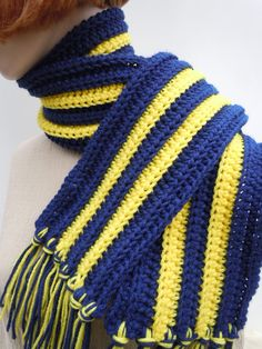 Scarf Dark Blue and Gold Yellow  Team Spirit Colors  Men by TLCLyn, $19.00