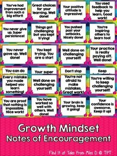 Growth Mindset Notes Encourage a Growth Mindset in your classroom with these bright and colourful notes of encouragement. There are a total of 40 notes, which can be printed, laminated and handed to students.Each note gives positive feedback about learning and attitude, in regards to Growth Mindset.These notes can be handed out during and after lessons, as a way of encouraging more positive thinking.