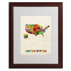 US Watercolor Map by Michael Tompsett Matted Framed Painting Print
