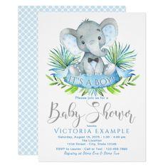 Boys Baby Elephant Baby Shower Invitations #savethedate #wedding #bold #modern #colorful