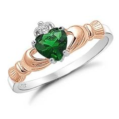 Rose Gold Plated Sterling Silver Simulated Emerald Claddagh Ring