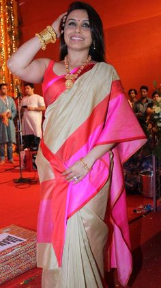 Rani Mukherjee Was Spotted At The North Bombay Sarbajanin Durga Puja Celebrating Durga Puja With Her Family.