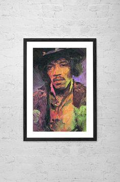 Jimi Hendrix, Impasto Painting, Wall art Poster - Fine Art Print for Interior Decoration