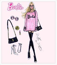 Hayden Williams Fashion Illustrations: Barbie Style by Hayden Williams: 'Pink Perfection' Fashion Sketchbook, Barbie Fashion Sketches, Hayden Williams, Moda Fashion, Fashion Art, Trendy Fashion, Girl Fashion, Paper Fashion, Fashion Heels