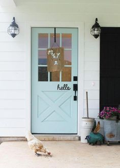 Terrific photo - pay a visit to our piece for many more schemes! #frontdoorswreaths Front Door Paint Colors, Painted Front Doors, Painted Exterior Doors, Exterior Paint, Exterior Design, Watery Sherwin Williams, Unique Front Doors, White Siding, Black Shutters