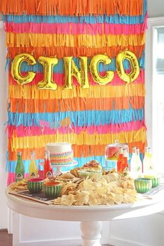 Don't miss this incredible Cinco de Mayo Fiesta! Love the colorful fringe backdrop! See more party ideas and share yours at CatchMyParty.com Dessert Table Backdrop, Dessert Tables, Table Decorations, Fiesta Cake, Fiesta Party, Mexican Birthday Parties, Taco, Bridal Shower, Party Ideas