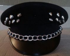 Silver Spiked Black Military Inspired Hat with Chain by KolbiJean