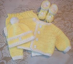 Crochet Baby Boy Sweater Set Layette with by MADEWITHLOVEBYSUZIEQ, $100.00