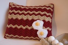 Bacon and Eggs Pillow - We love this Crochet Me reader submitted pattern! Thanks Tamara Kelly!
