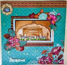 Face page for India travel scrapbook. India Travel, Thailand Travel, Travel Scrapbook, Scrapbook Pages, Scrapbooking Layouts, Craft Projects, Sunset, Cards, Painting