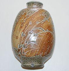 Phil Rogers studio pottery salt glaze bottle vase   eBay