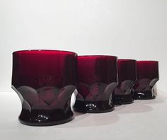 Ruby Georgian Tumblers Anchor Hocking Set of 4, Red Glasses Juice Glasses Honeycomb by MotownLostandFound on Etsy
