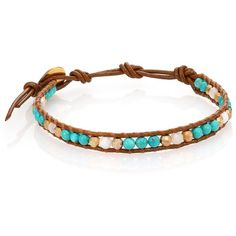 Chan Luu Turquoise & Mother-Of-Pearl Leather Beaded Wrap Bracelet ($70) ❤ liked on Polyvore featuring jewelry, bracelets, apparel & accessories, bead jewellery, beaded jewelry, button jewelry, beaded bangles and leather wrap bracelet