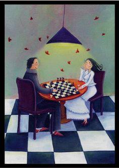 dixit 8 Karolu zeminde satranç oynayan iki eleman hakkında Nasıl bir metafor üretilebilir