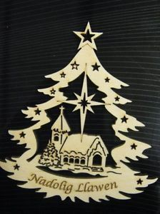 Beautiful laser cut Nadolig Llawen keepsake christmas decoration
