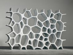 Voronoi Shelf made from white carrera marble, by #MarcNewson