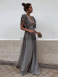 Grey Chiffon V Neck A Line Long Bridesmaid Prom Dresses DPB3107 – dressystyles Grey Bridesmaid Dresses, Prom Dresses, Summer Dresses, Formal Dresses, Wedding Dresses, Flowy Dresses, Chiffon Dresses, Long Cocktail Dress, The Dress