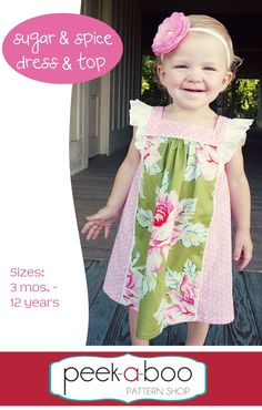 fairytale frocks and lollipops :: peek-a-boo pattern shop, peekaboo pattern shop, amy hindman, sugar and spice dress and top, sugar & spice, girl,baby, infant, toddler, tween, ruffle, square neck, layer, boutique, sewing, spring, fall, summer, special occasion, birthday, party, holiday, valentine, christmas, thanksgiving, easter, wedding, instant, digital, download, pdf, e-pattern, e-book, epattern, ebook, tutorial, digipattern