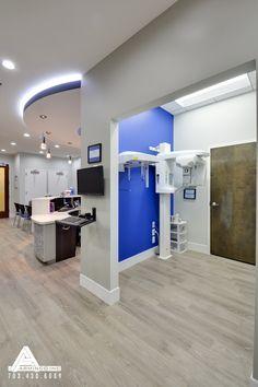 Vivid Blue X-ray Room. Dental Office Design by Arminco Inc. Dental Office Decor, Medical Office Design, Office Interior Design, Dental Design, Clinic Design, Cl Design, Office Organization At Work, Storage Organization, Office Floor Plan