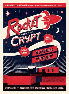 Rocket From The Crypt Gig Poster by BenWhittington on Etsy