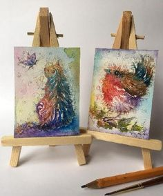"On the 'gallery ACEO' page of www.sixfootsophie.co.uk ACEO hand painted artist trading cards for collectors by Sophie Appleton (miniature painting 3.5""x2.5"") Butterfly gazing cat & the Rockin Robin."