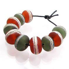 Shoreline Treasure beach inspired lampwork bead... - Folksy