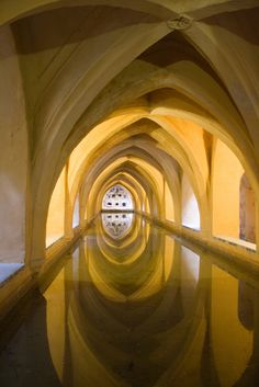"""Keep seeing this photo been captioned """"Baths under the Alcazar of Seville, [Spain]"""". However with some research I found that this royal palace was originally a Moorish fort. From a lecture I had attended (The Lost Kingdom of Al Andalus) it is clear to me that the term Moorish is used wrongly by pinners. Moors  of the """"Moorish culture"""" were actually """"medieval Muslim inhabitants of the Maghreb, Iberian Peninsula, Sicily and Malta"""". Thus, I believe this is actually where they performed Wuduh."""