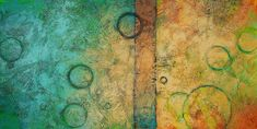 Abstract Painting Original Fine Art Acrylic-turquoise-tan-Titled..Galaxies 1.size.24x48- By Ava Avadon