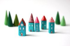 Little houses and trees by Rodica/Rodi of Rodi's Little Houses on Etsy.