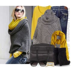 Love the mustard scarf with the gray poncho; amazing how one accessory can bring an outfit all together.