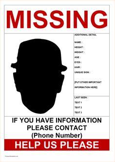 Missing Person Template Perin Ozyagcilar Ozyagcilar On Pinterest