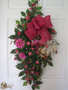 SPRING SALE Pink GARDEN Wreath Summer Wreath Gift by FunFlorals