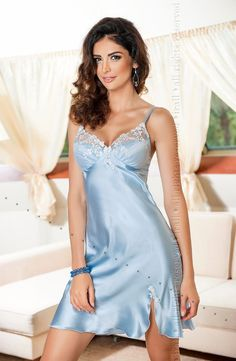 e467db1635 Pale Blue Satin Elegant Nightdress Linda by Irall