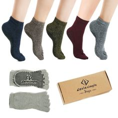 0f5bed140 Full Toe Yoga Pilates Socks Non Slip Skid Barre Grips Sock for Women   Men  Pack of 5