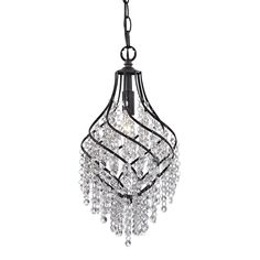 Sterling Industries 122-018 Crystal Drop 1 Light Pendant in Dark Bronze
