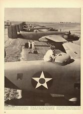 1942 WW2 photo, line of B-25 Mitchell Bombers in various Allied insignia  120813
