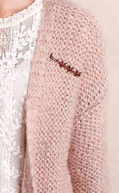 Franny Cardigan #anthrofave. I love both the blouse and this fluffy pink cardi.