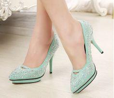 New 2014 brand designer rhinestone bridal wedding shoes woman pointed toe platform high heels women pumps green black size 35-39-ZZKKO