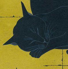 Five Reclining Black Cats (detail) - Japanese woodblock print by Tadashige Nishida (Born in Kagoshima, 1942)