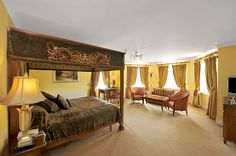 Stunningly situated in the heart of the beautiful Westmeath Lakeland's in an idyllic setting overlooking Lough Ennell, Bloomfield House Hotel is nestled in ro Hotel Breaks, Four Poster Bed, Bridal Suite, Beautiful Hotels, Open Plan Living, How To Make Bed, Dream Rooms, Living Area, Bath Robes