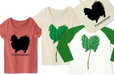 ポメラニアンTシャツ:クールなシルエット、葉っぱのポメラニアン、シンプルだけどかっこいい犬のデザインTシャツ☆ポメラニアンが好きな方はもちろんワンちゃん好きにはたまらないTシャツとトートバッグなど。